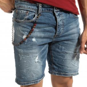Прокъсани мъжки къси дънки с броеница  2