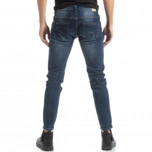 Мъжки сини дънки с пръски боя 2