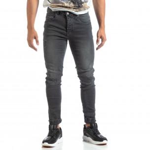 Slim fit мъжки сиви дънки с прокъсвания