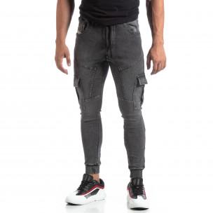 Мъжки сиво долнище тип Cargo Jeans