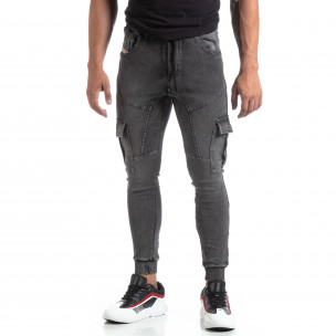 Мъжко сиво долнище тип Cargo Jeans