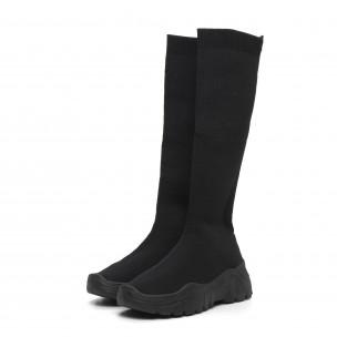 Дамски черни ботуши тип чорап 2