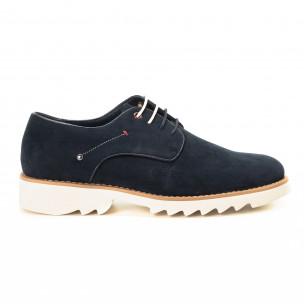 Casual мъжки обувки в син велур
