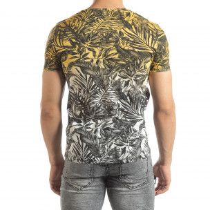 Мъжка жълта тениска с преливане Leaves мотив  2