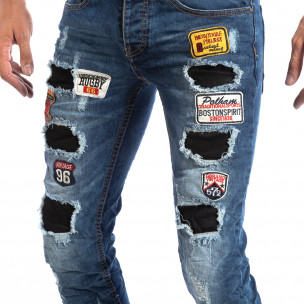 Мъжки сини Slim Jeans с апликации и кръпки  2