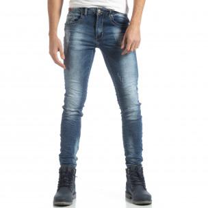 Сини мъжки дънки Slim fit с прокъсвания  2