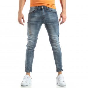 Washed Slim Jeans в сиво-синьо  2