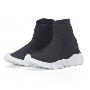 Дамски черни маратонки slip-on тип чорап 2