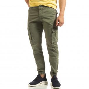 Мъжки карго джогър панталон в зелено