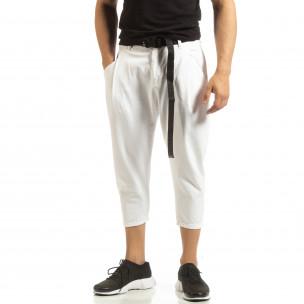 Cropped мъжки бял панталон брич стил