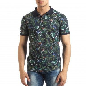 Флорална мъжка тениска с яка в черно