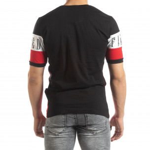 Мъжка тениска в черни и червени блокове 2