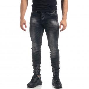 Черни мъжки дънки Washed Slim fit
