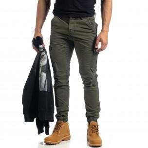Зелен мъжки карго панталон с ципове  2