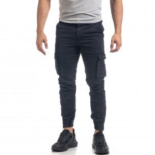 Син мъжки карго панталон с ципове на крачолите