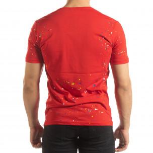 Червена мъжка тениска с пръски боя 2