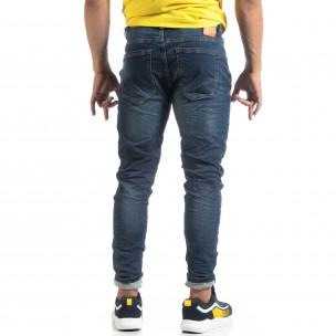 Мъжки сини дънки с намачкан ефект