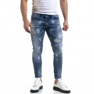 Мъжки сини дънки Destroyed Cropped