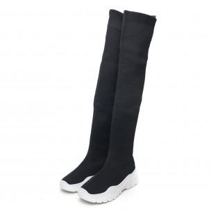 Дамски черни високи ботуши тип чорап 2