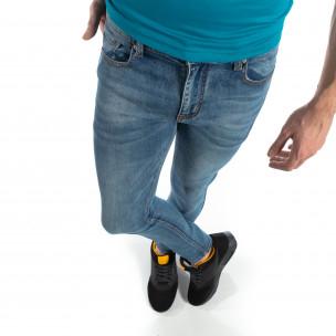 Еластични мъжки дънки Slim fit в синьо  2
