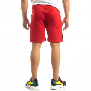 Червени мъжки шорти с бяло и черно  2