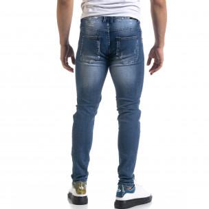 Slim fit мъжки сини дънки с прокъсвания  2