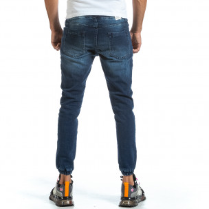 Мъжки сини дънки с ластик на кръста и крачолите 2