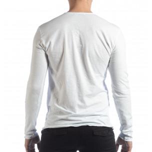 Мъжка блуза V-neck в бяло  2