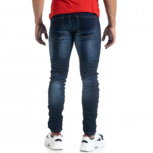 Тъмносини мъжки дънки с прокъсвания Slim fit  2
