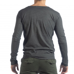 Мъжка блуза Vintage стил в сиво  2