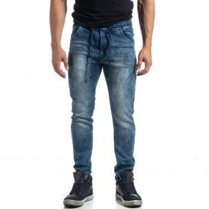 Еластични мъжки сини дънки Jogger