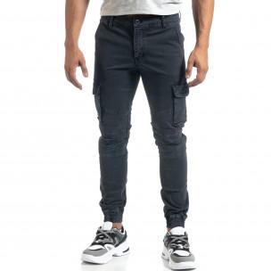 Мъжки рокерски карго панталон в сиво  2
