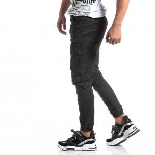 Мъжки черен рокерски панталон с карго джобове