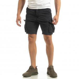Slim fit къси карго панталони в синьо
