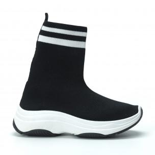 Черни дамски маратонки тип чорап с ленти 2