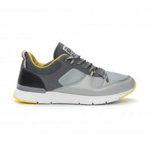 Комбинирани мъжки маратонки в сиво и жълто  2