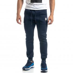 Мъжко синьо долнище с апликирани джобове