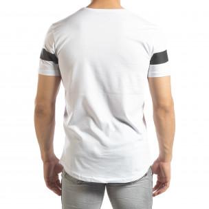 Мъжка удължена тениска в бяло  2