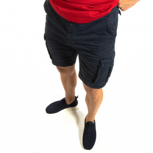 Къси карго панталони в синьо с детайл