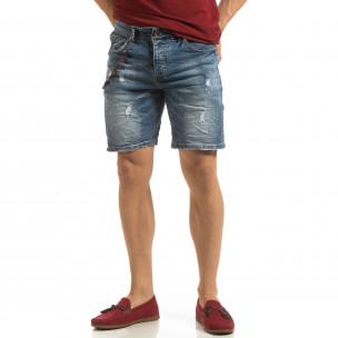 Прокъсани мъжки къси дънки с броеница