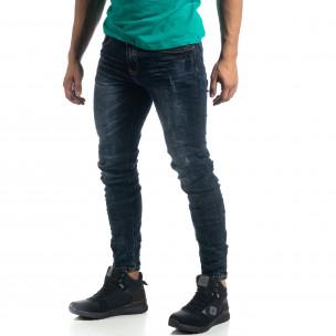 Тъмносини мъжки дънки с акценти Slim fit