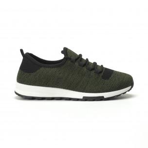 Леки текстилни мъжки маратонки в зелен меланж