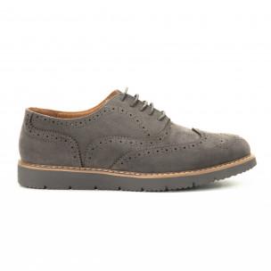 Casual мъжки обувки Wingtip сив велур