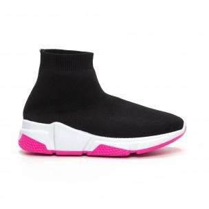 Черни дамски маратонки тип чорап Chunky подметка