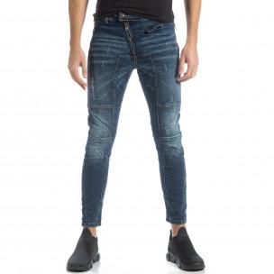 Намачкани мъжки сини дънки Biker style  2