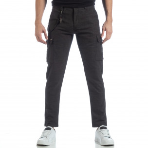 Мъжки фин панталон в сив меланж 2
