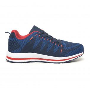 Плетени мъжки маратонки в синьо и червено  2