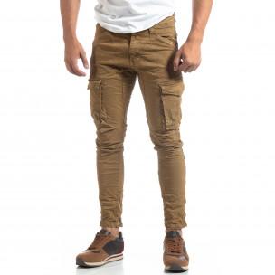 Каки мъжки карго панталон с прави крачоли  2
