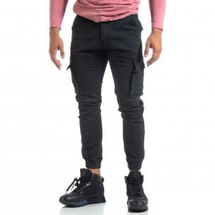 Мъжки черен карго панталон с маншети трико  2