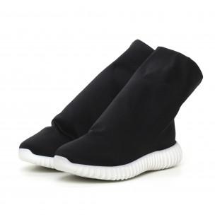 Дамски черни боти от неопрен тип чорап  2